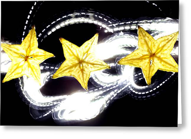 Painted Details Digital Art Greeting Cards - Light painting on star fruit slice Greeting Card by Paul Ge