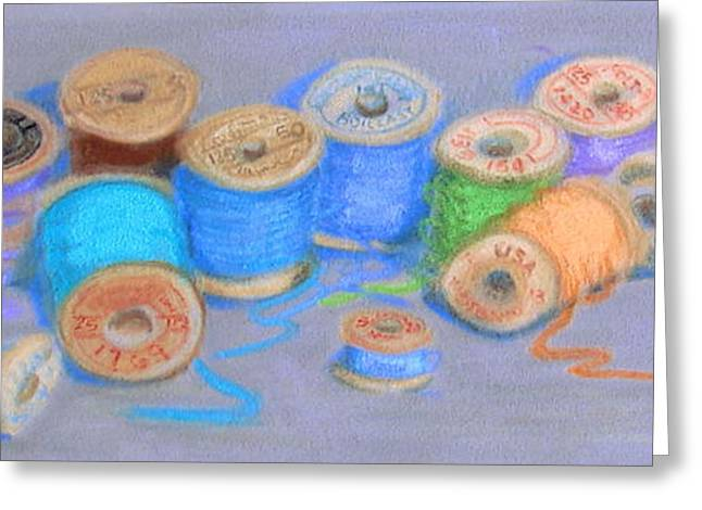 Antique Sewing Pastels Greeting Cards - Light Pastel Spools Greeting Card by Joseph Hawkins