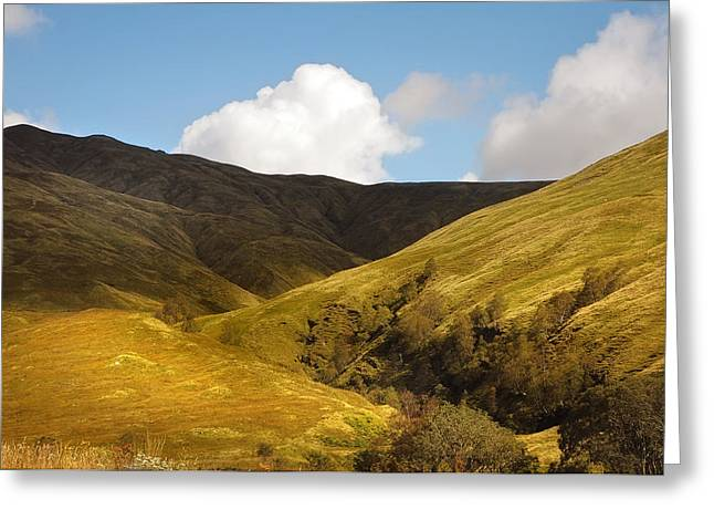 Beautiful Scenery Greeting Cards - Light Patterns in the Hills. Scotland Greeting Card by Jenny Rainbow