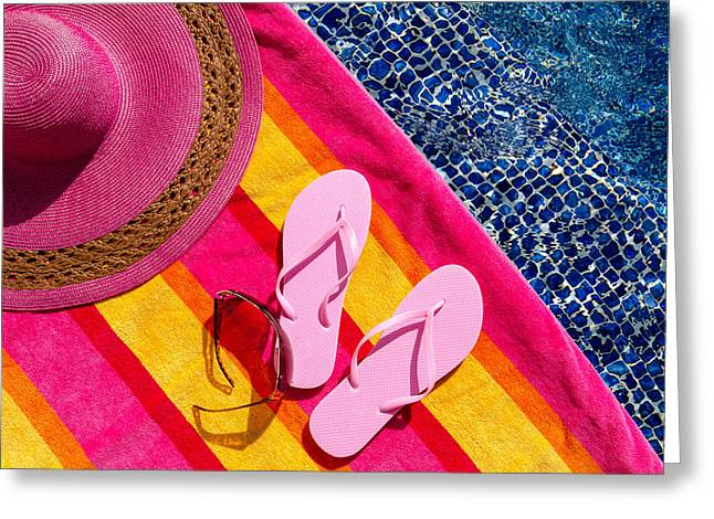 Sun Hat Greeting Cards - Light Pink Flip Flops by the Pool Greeting Card by Teri Virbickis
