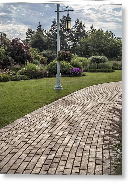 Michigan State Greeting Cards - Light Post and Walkway at Michigan State University Greeting Card by John McGraw
