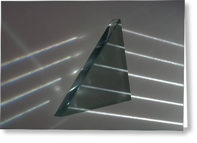 Triangular Greeting Cards - Light rays and triangular prism Greeting Card by Science Photo Library