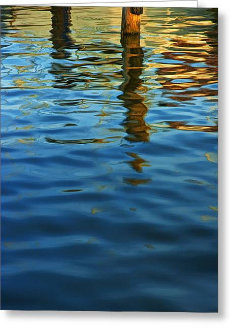 Reflection On Water Greeting Cards - Light Reflections on the Water by a Dock at Aransas Pass Greeting Card by Randall Nyhof