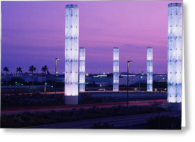 Headlight Greeting Cards - Light Sculptures Lit Up At Night, Lax Greeting Card by Panoramic Images