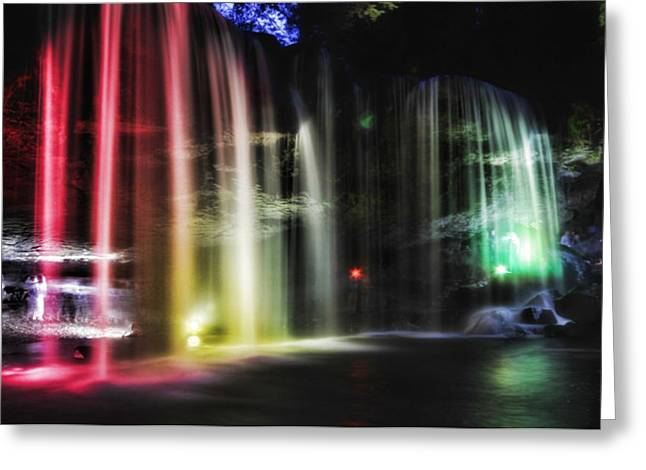 Cavern Greeting Cards - Light Show in Japanese Cave Greeting Card by Mountain Dreams