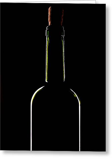 Fluted-rim Greeting Cards - Light Silhouette Of Wine Bottle Greeting Card by Roman Popov