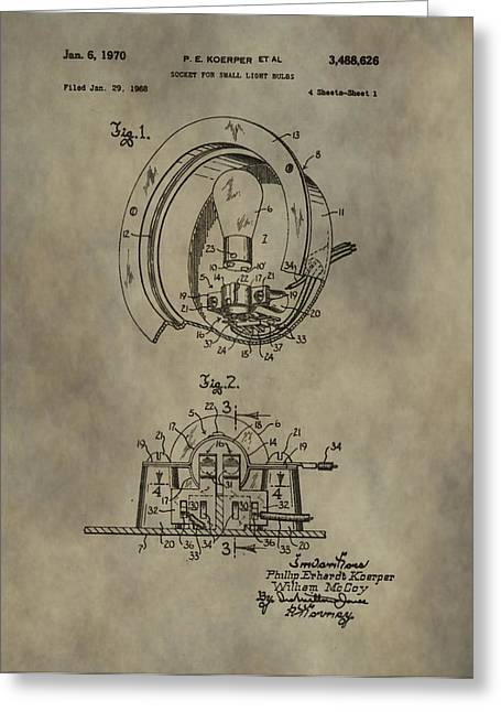 Wire Mixed Media Greeting Cards - Light Socket Patent Greeting Card by Dan Sproul