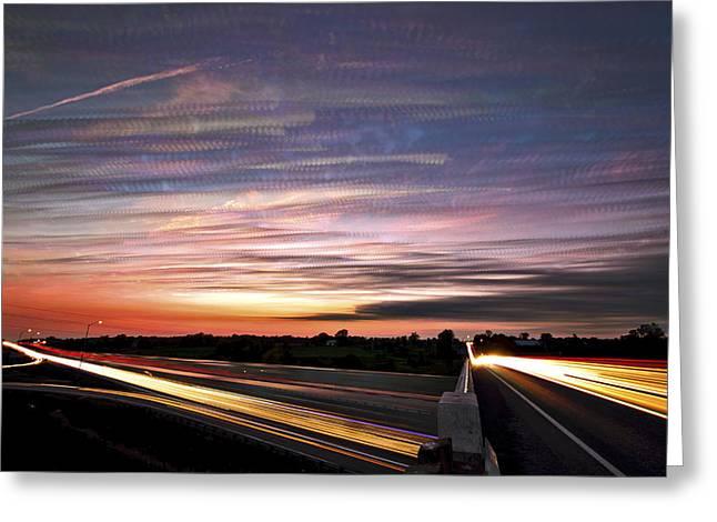 Light Speed Sunset Greeting Card by Matt Molloy