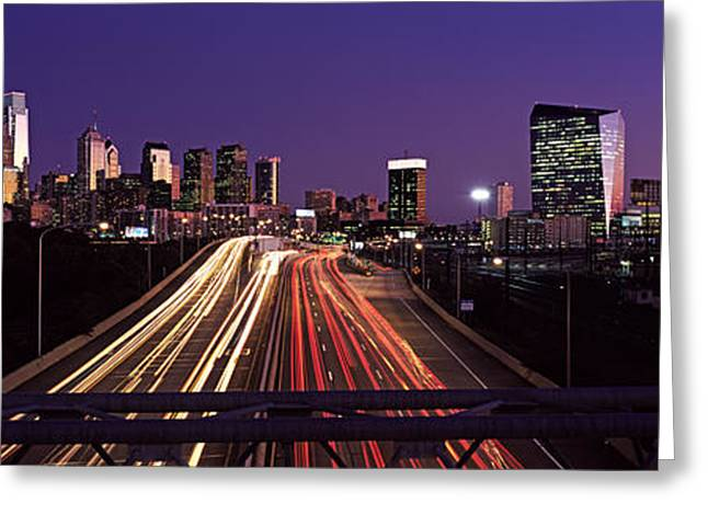 Headlight Greeting Cards - Light Streaks Of Vehicles On Highway Greeting Card by Panoramic Images