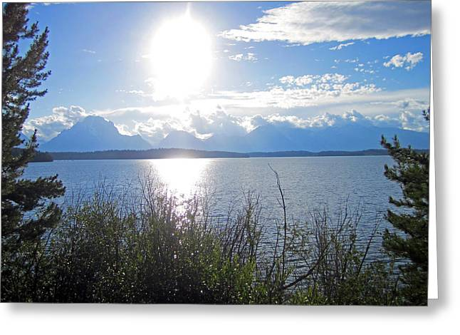 Teton Greeting Cards - Light Sun Lake Greeting Card by Mike Podhorzer
