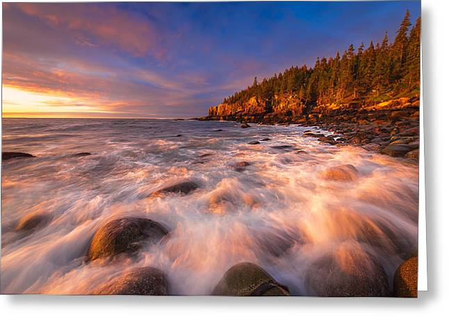 Maine Coast Greeting Cards - Light Surge Greeting Card by Joseph Rossbach
