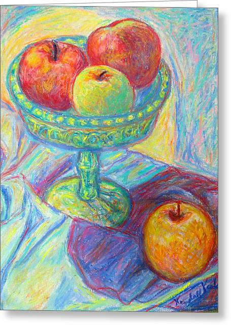 Apple Pastels Greeting Cards - Light Swirl on Apples Greeting Card by Kendall Kessler