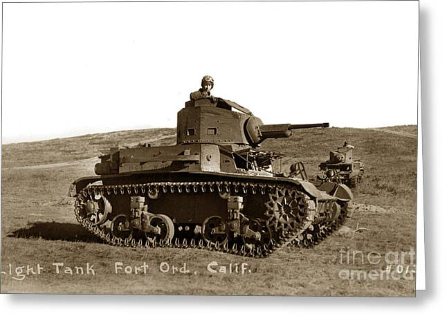 Tank Battalions Greeting Cards - Light Tank M2 A4 757th Tank Battalion Fort Ord California  Army Base 1940 Greeting Card by California Views Mr Pat Hathaway Archives