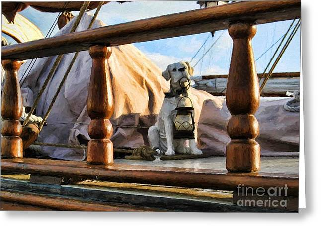Pirate Ships Greeting Cards - Light the Way Greeting Card by Peggy J Hughes