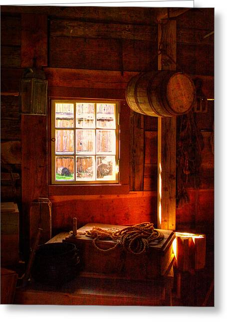 Stockade Greeting Cards - Light Through the Barn Window Greeting Card by David Patterson
