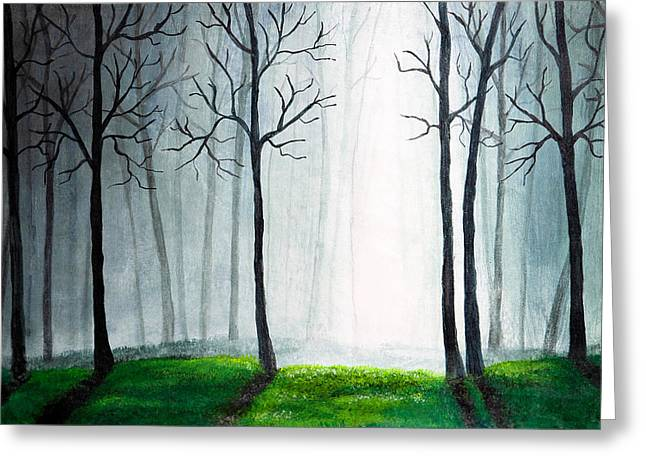 Misty. Drawings Greeting Cards - Light through the forest Greeting Card by Nirdesha Munasinghe