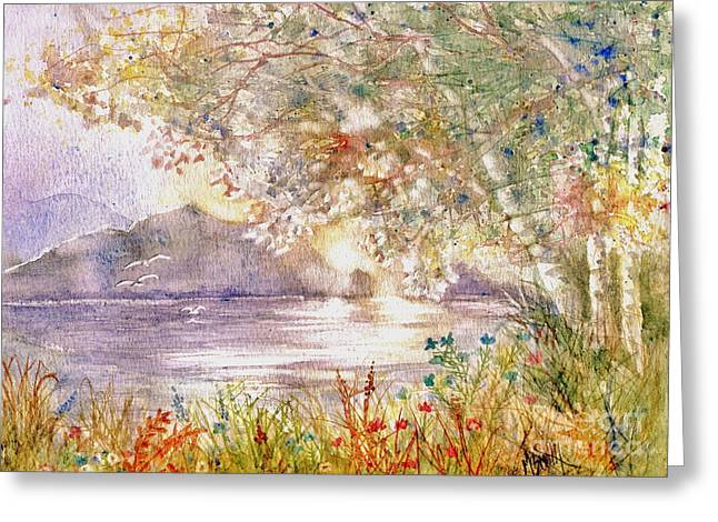 Sun Rays Paintings Greeting Cards - Light Through The Pass Greeting Card by Marilyn Smith