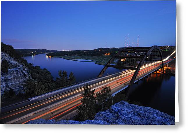 360 Bridge Greeting Cards - Light Trails at Pennybacker Bridge Greeting Card by Kevin Pate