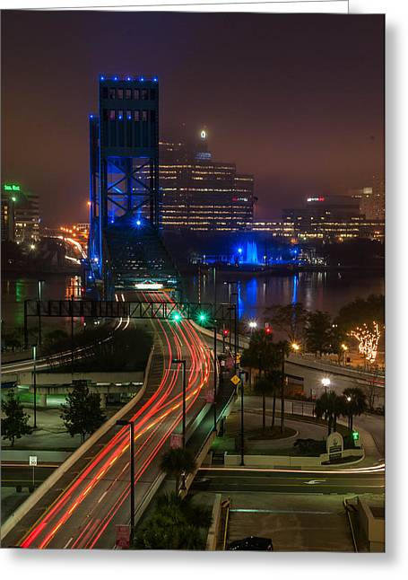 Jacksonville Pyrography Greeting Cards - Light trails Jacksonville Greeting Card by Alex Heath