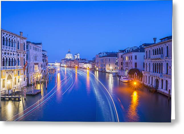 Docked Boats Greeting Cards - Light Trails On A Canal At Dusk Greeting Card by Mats Silvan