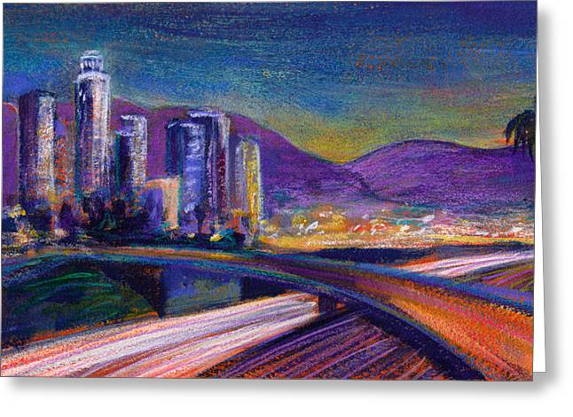 Los Angeles Freeways Greeting Cards - Light Up The Night Greeting Card by Athena Mantle