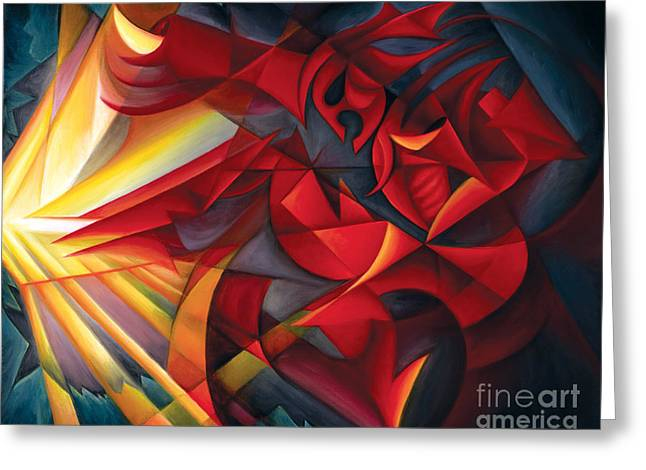 Abstract Expressionist Greeting Cards - Light Warrior Greeting Card by Tiffany Davis-Rustam