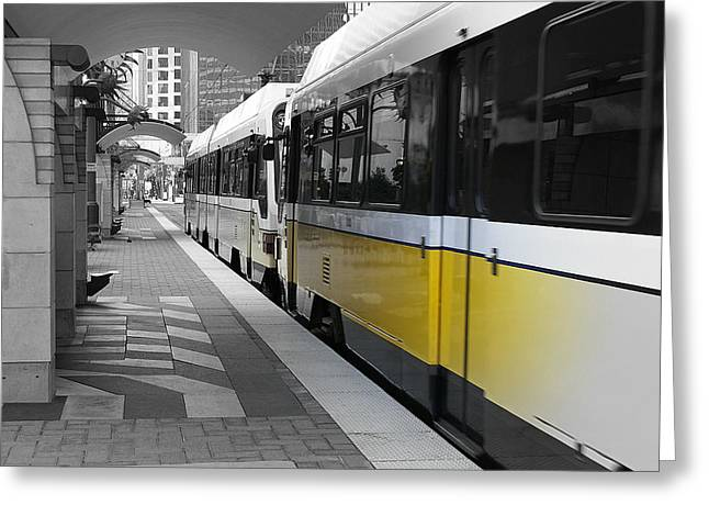 Dart Stations Greeting Cards - Light Yellow Rail Greeting Card by Art Tedeschi