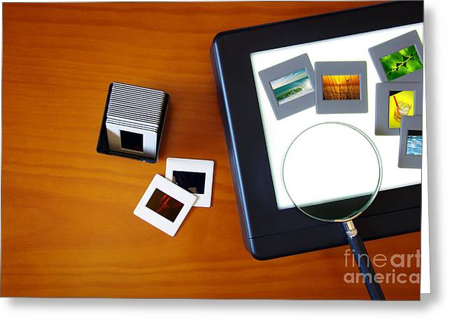 Transparency Greeting Cards - Lightbox with Slides Greeting Card by Carlos Caetano