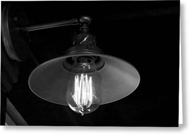 Edison Greeting Cards - Lightbulb Greeting Card by Allan Morrison