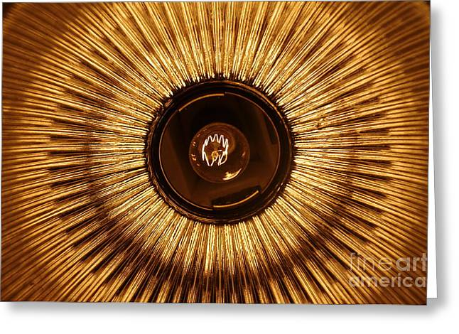 Lampshade Greeting Cards - Lightbulb and lampshade Sun Greeting Card by Patrick Dinneen