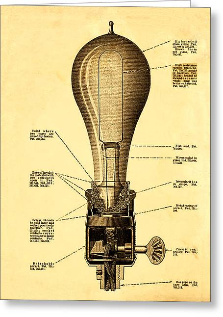 Edison Greeting Cards - Lightbulb Patent Greeting Card by Digital Reproductions