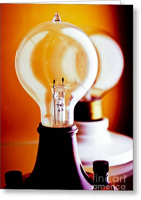 Edison Greeting Cards - Vintage Light Bulbs Greeting Card by Colleen Kammerer