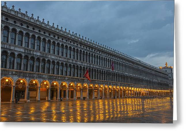 Italian Restaurant Greeting Cards - Lighted Archways In A Row Greeting Card by Mats Silvan