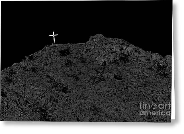 Christian Bale Greeting Cards - Lighted Cross Greeting Card by Robert Bales