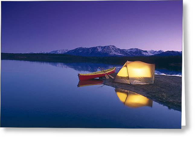 Lighted Tent & Canoe Byers Lake Tokosha Greeting Card by Michael DeYoung
