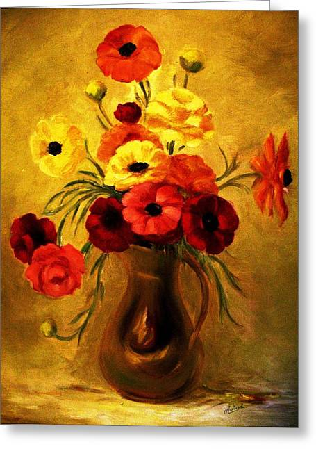 Flower Still Life Prints Greeting Cards - Lighten Up Greeting Card by Hazel Holland