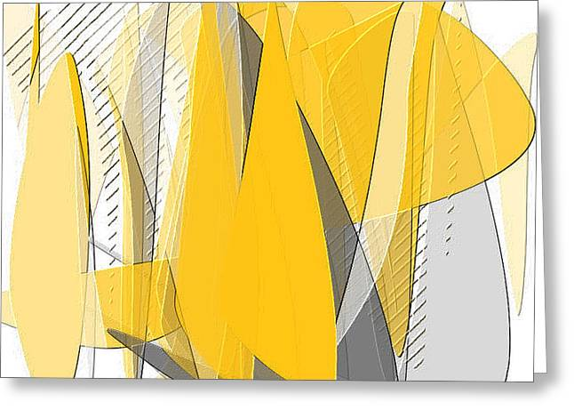 Yellow And Grey Abstract Art Greeting Cards - Lighten Up Greeting Card by Lourry Legarde