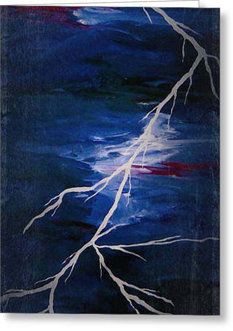 Storm Prints Digital Art Greeting Cards - Lightening Bolt Painting by Laura Carter Greeting Card by Laura  Carter