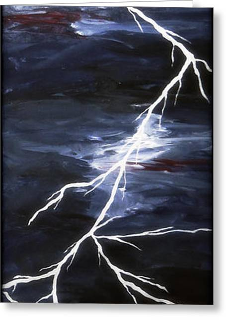 Storm Prints Digital Art Greeting Cards - Lightening Bolt Painting Fine Art Print Greeting Card by Laura  Carter