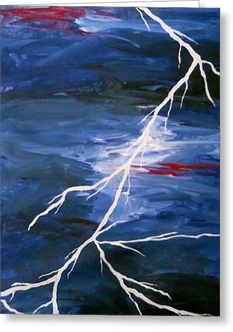 Storm Prints Greeting Cards - Lightening Bolt Painting Greeting Card by Laura  Carter