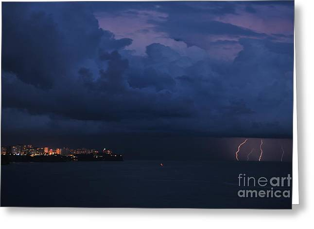 Cliffs Over Ocean Greeting Cards - Lightening Greeting Card by Erhan OZBIYIK
