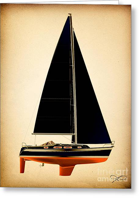Blue Sailboat Drawings Greeting Cards - Lightening Sails Greeting Card by Regina Marie Gallant