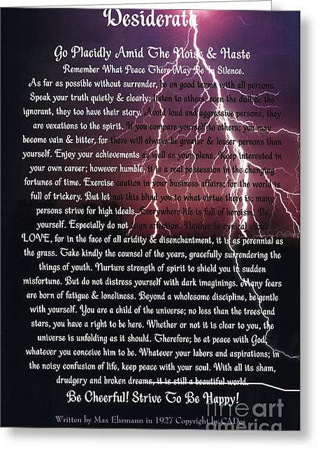 Recently Sold -  - Motivational Poster Greeting Cards - Lightening Strikes on DESIDERATA Poster Greeting Card by Desiderata Gallery
