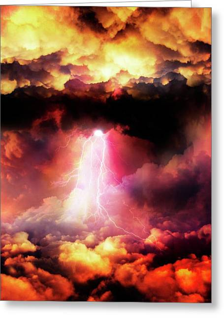 Lightening Striking Greeting Card by Victor Habbick Visions