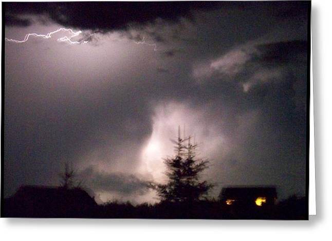 Gloaming Greeting Cards - Lightening  Greeting Card by Suzen JueL