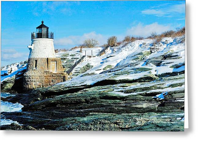 Navigational Greeting Cards - Lighthouse Along The Sea, Castle Hill Greeting Card by Panoramic Images