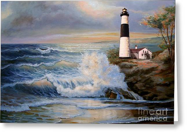 Canvassing Greeting Cards - Big Sable Point Lighthouse with crashing waves  Greeting Card by Gina Femrite