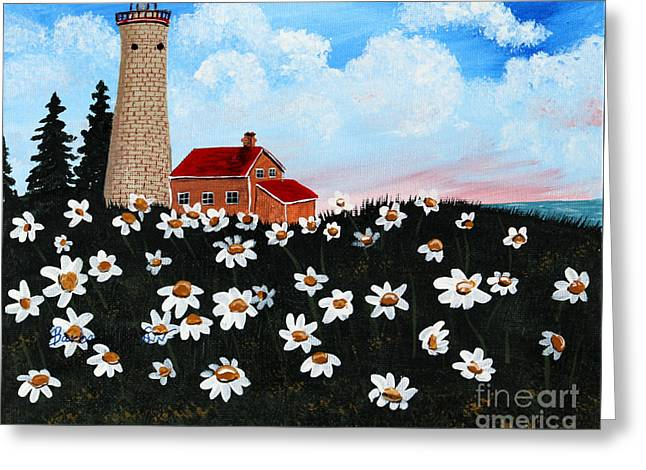 Spiral Staircase Paintings Greeting Cards - Lighthouse and Daisies Greeting Card by Barbara Griffin
