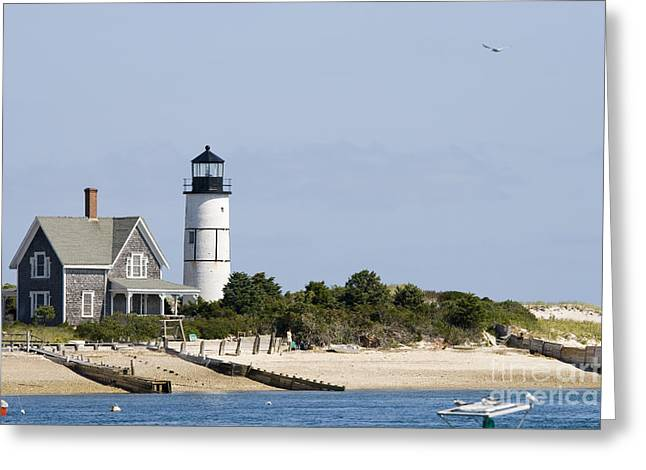 Cape Cod Tourism. Greeting Cards - Lighthouse and home at Cape Cod Greeting Card by Patricia Hofmeester
