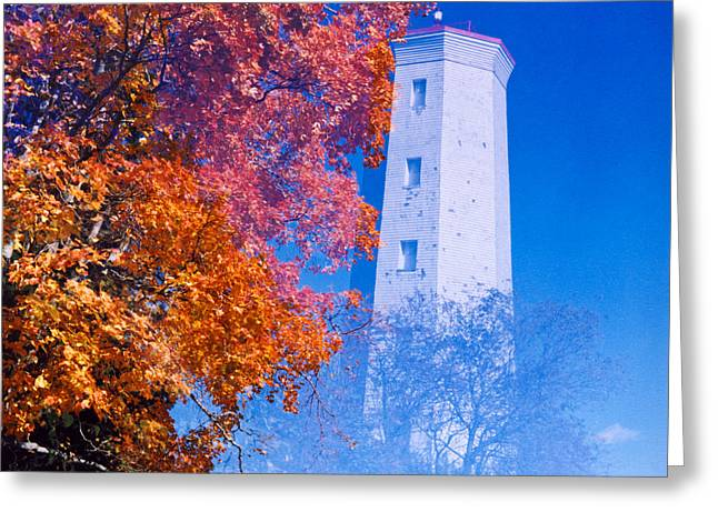 Fineartamerica Greeting Cards - Lighthouse and Maple Tree 1D Greeting Card by Bernd Buessecker